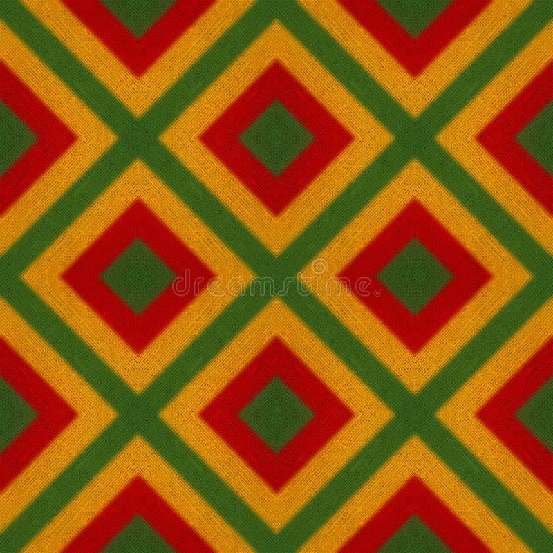 Fond sans couture de crochet de reggae de musique de couleurs vertes, jaunes, rouges de drapeau Mai soit employé pour l'affiche, illustration stock