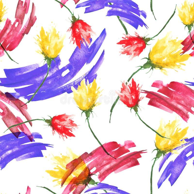 Fond sans couture de cru d'aquarelle avec un modèle floral, une branche d'une fleur rose, tulipe, feuilles, lavande, fleur sauvag illustration libre de droits