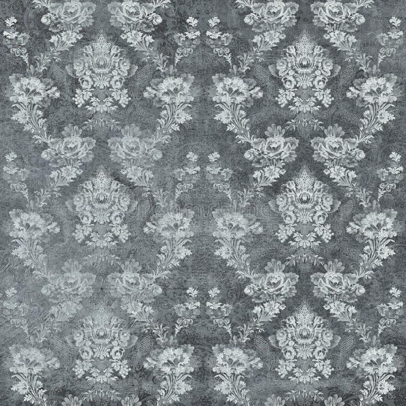 Fond sans couture de damassé, textureTexture noir de papier peint d'ornement de vieux mur de ciment, fond concret gris photo stock