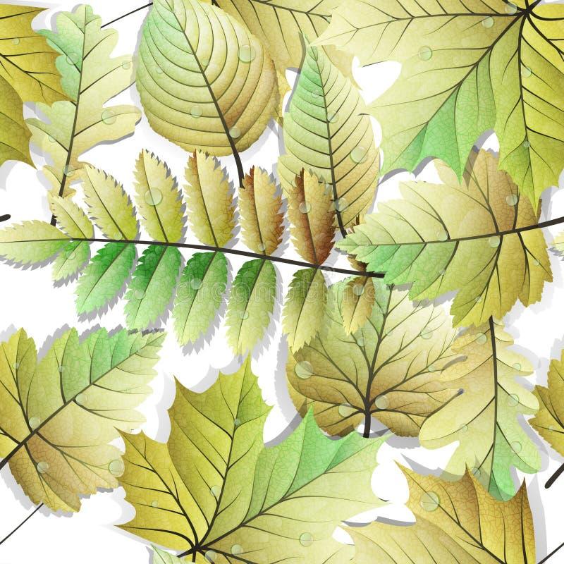 Fond sans couture de feuilles détaillées ENV 10 illustration de vecteur