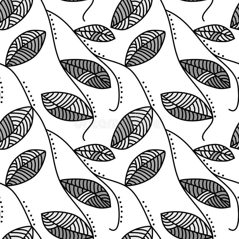 Fond sans couture de feuilles noires et blanches illustration de vecteur