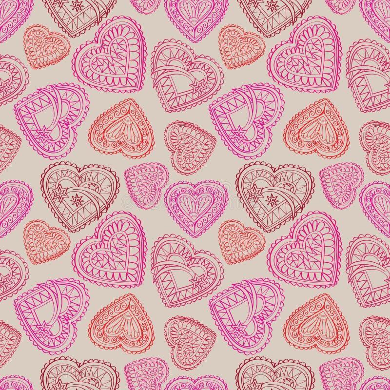 Fond sans couture de fleurs et d'oiseaux de coeurs Rétro texture d'amour illustration libre de droits