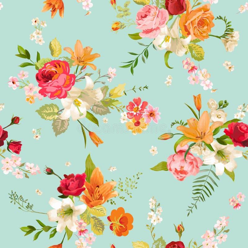 Fond sans couture de fleurs de lis et d'orchidée Configuration florale illustration libre de droits