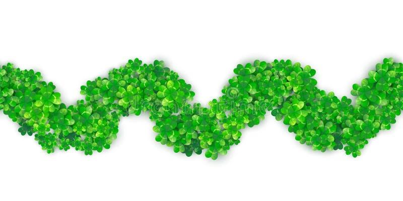 Fond sans couture de frontière de vague de zigzag de jour de Patricks avec le tas vert du trèfle quatre illustration libre de droits