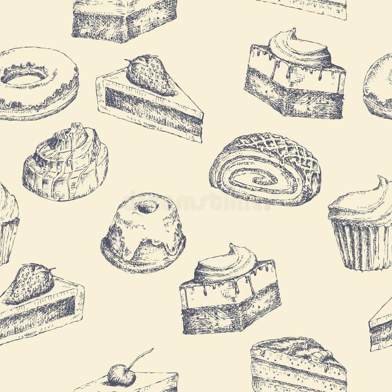 Fond sans couture de gâteau illustration stock