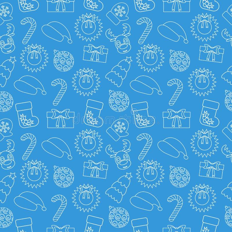 Fond sans couture de griffonnage de Noël Envelopper-papier bleu Vecteur illustration libre de droits