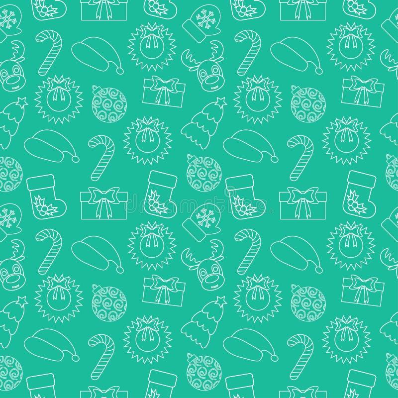 Fond sans couture de griffonnage de Noël Envelopper-papier vert Vecteur illustration de vecteur
