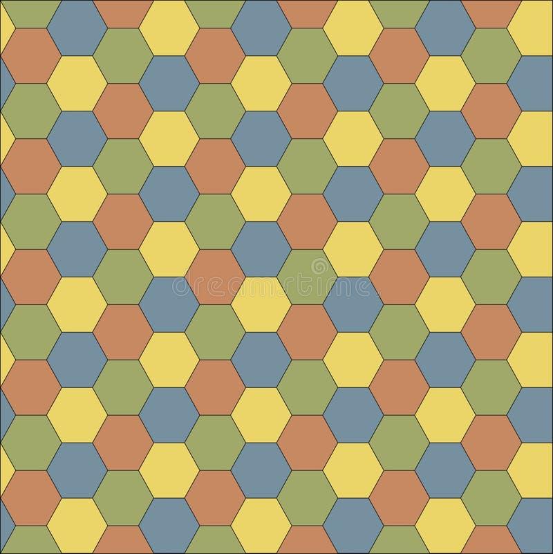 Fond sans couture de grille multicolore Texture hexagonale de cellules illustration stock