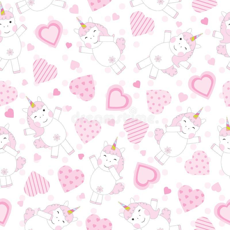 Fond sans couture de jour du ` s de Valentine avec la licorne rose mignonne et les coeurs roses illustration stock
