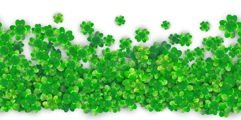 Fond sans couture de jour de Patricks avec le tas vert du trèfle quatre avec des ombres illustration libre de droits