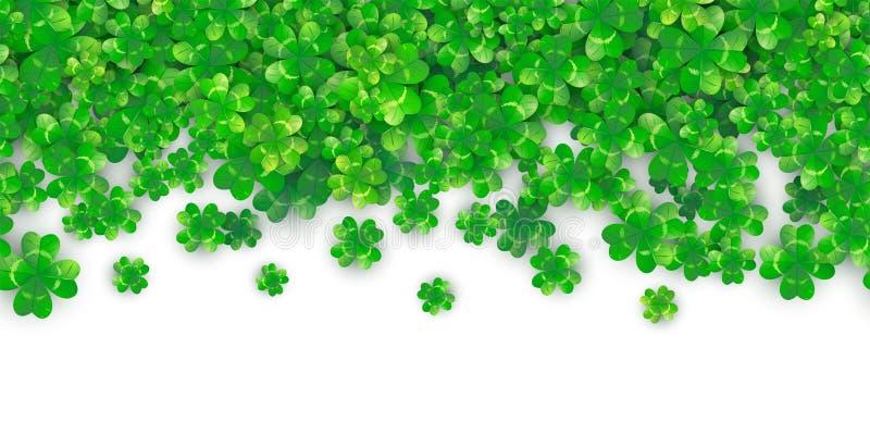 Fond sans couture de jour de Patricks avec le tas vert du trèfle quatre avec des ombres illustration de vecteur