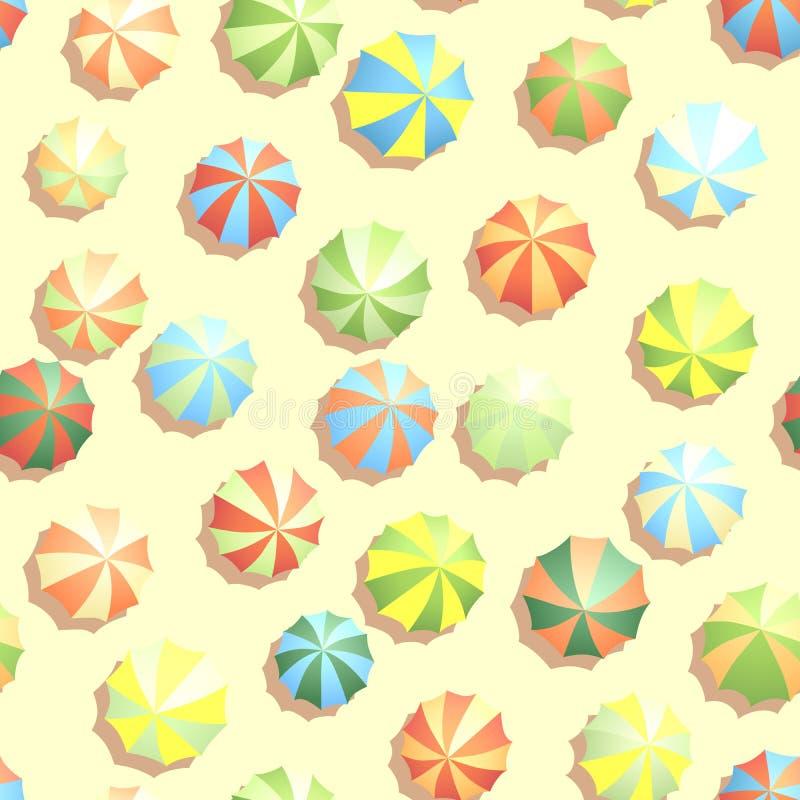 Fond sans couture beaucoup de parasols sur la plage. illustration libre de droits