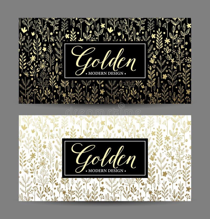 Fond sans couture de luxe avec le cadre d'or Vecteur illustration libre de droits