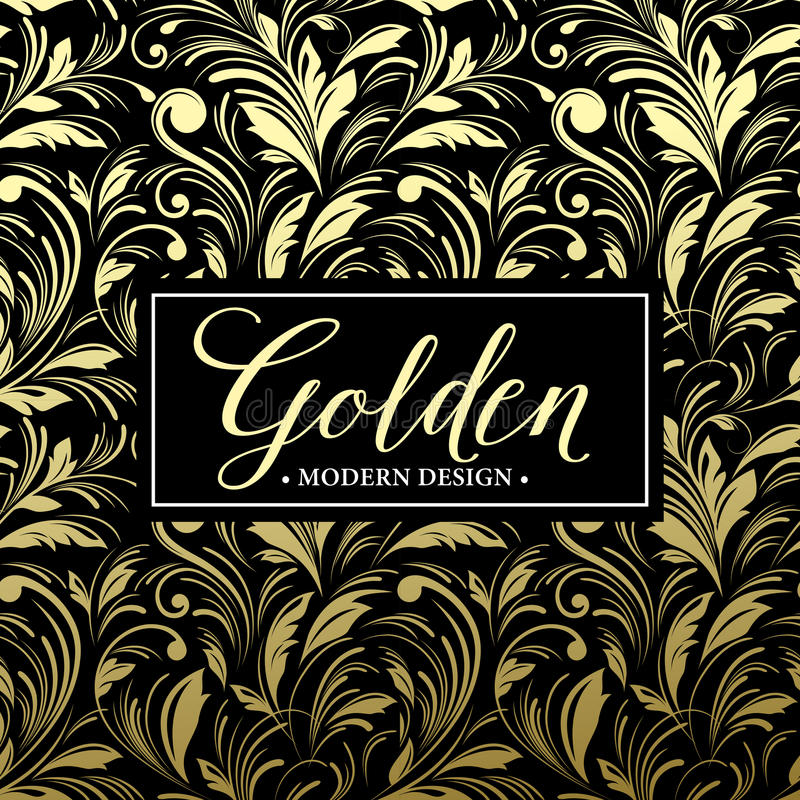 Fond sans couture de luxe avec le cadre d'or Vecteur illustration de vecteur