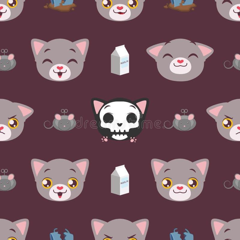 Fond sans couture de modèle avec le chat et les éléments illustration stock