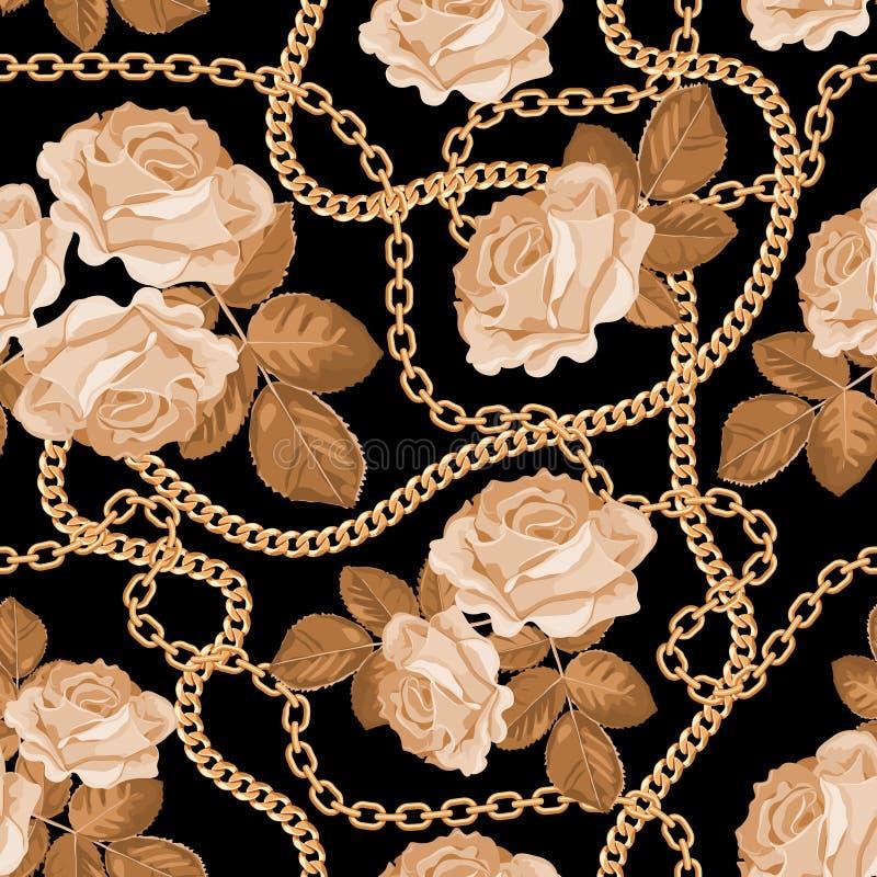 Fond sans couture de modèle avec les chaînes d'or et les roses beiges sur le noir Illustration de vecteur illustration stock