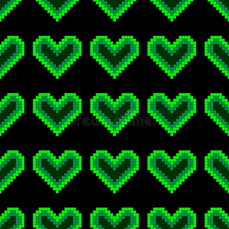 Fond sans couture de modèle avec les coeurs de pixel, qui rougeoient lampe au néon lumineuse sur un fond foncé illustration stock