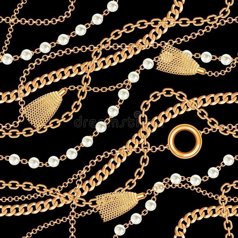 Fond sans couture de modèle avec les perles, le gland et le collier métallique d'or de chaînes sur le noir Illustration de vecteu photo stock
