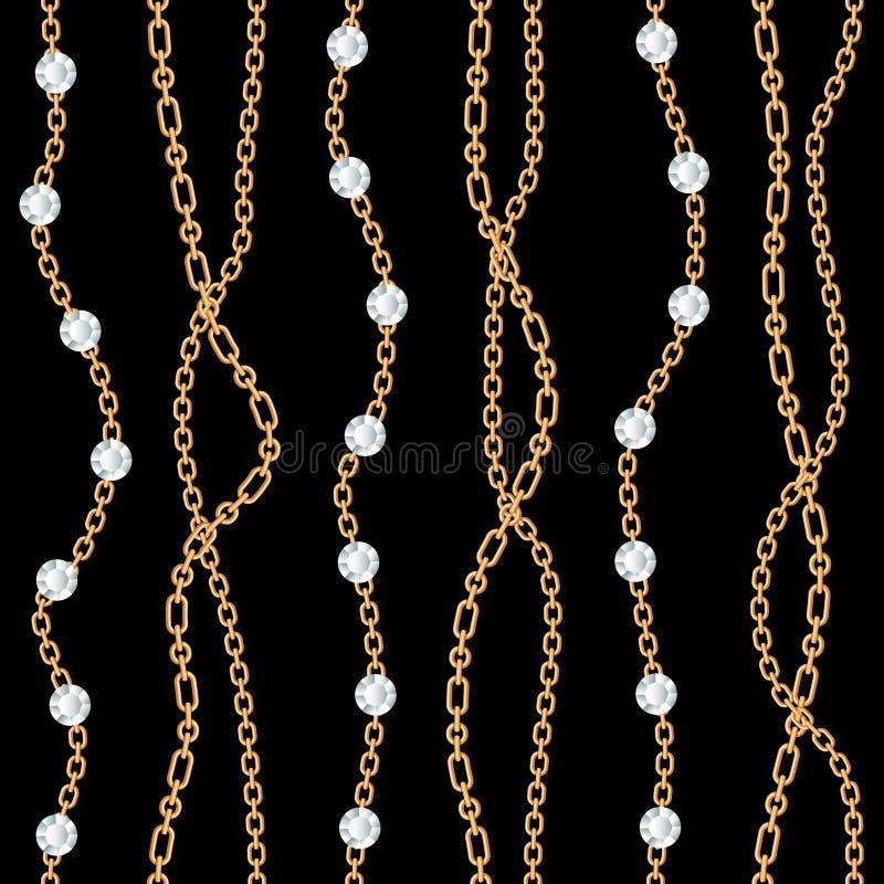 Fond sans couture de modèle avec les pierres gemmes et le collier métallique d'or de chaînes sur le noir Illustration de vecteur photo stock