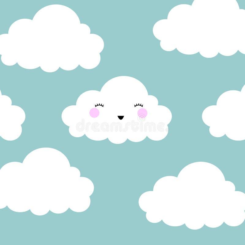 Fond sans couture de modèle de bande dessinée de nuage mignon de visage avec le point, illustration de vecteur illustration libre de droits