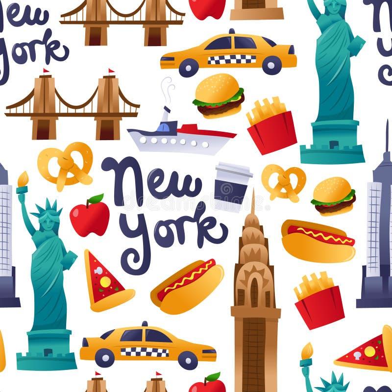 Fond sans couture de modèle de culture mignonne superbe de New York illustration stock