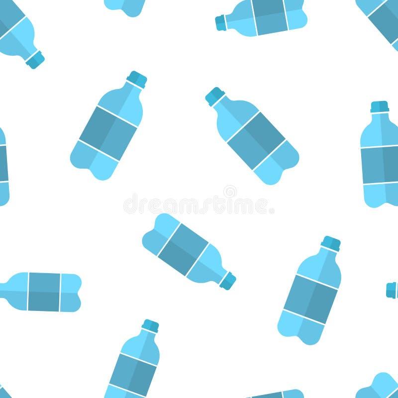 Fond sans couture de modèle d'icône de bouteille d'eau Illustration en plastique de vecteur de bouteille de soude Modèle liquide  illustration libre de droits