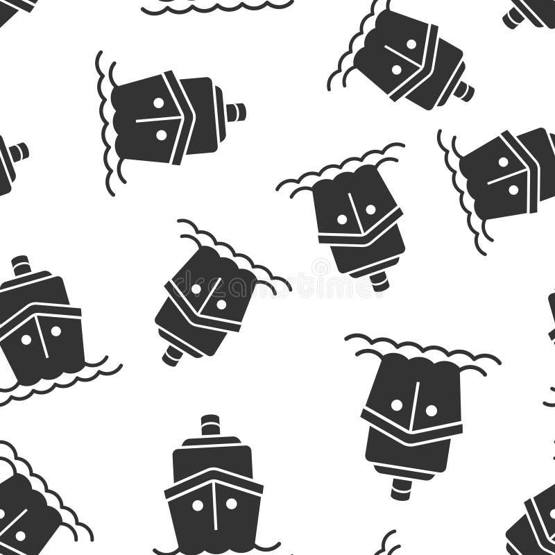 Fond sans couture de modèle d'icône de signe de croisière de bateau Illustration de vecteur de cargo sur le fond d'isolement blan illustration de vecteur