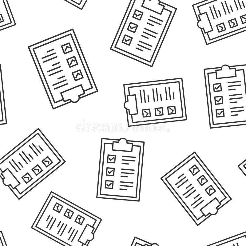 Fond sans couture de modèle d'icône de signe de presse-papiers de liste de contrôle Illustration de vecteur de liste de document  illustration libre de droits