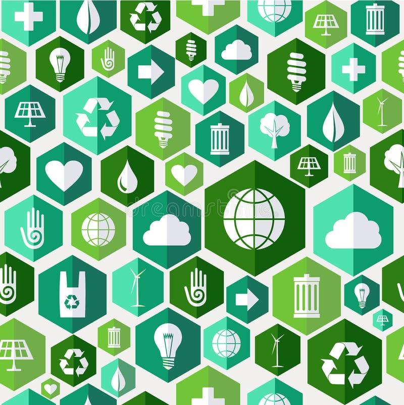Fond sans couture de modèle d'icônes vertes d'environnement illustration de vecteur