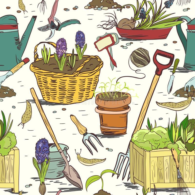 Fond sans couture de modèle d'outils de jardinage illustration libre de droits