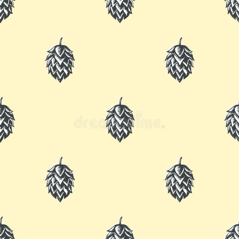 Fond sans couture de modèle de bière d'houblon illustration libre de droits