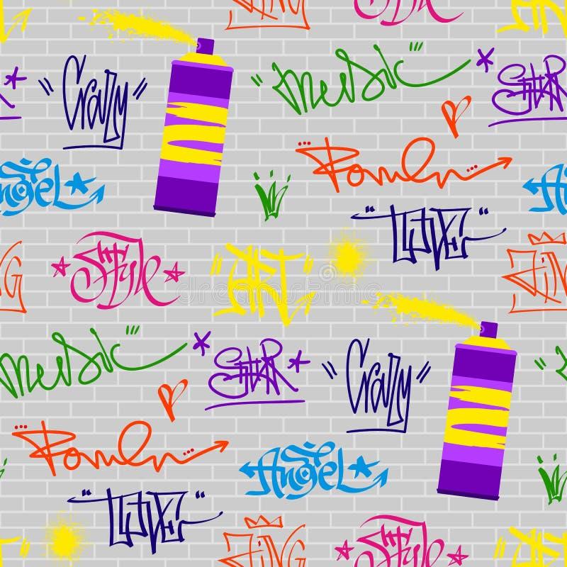 Fond sans couture de modèle de couleur de mur d'art de rue de graffiti de vecteur grunge de police illustration stock