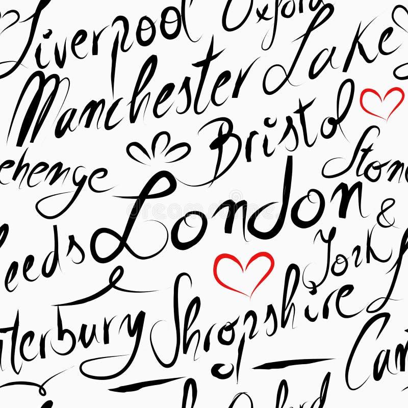 Fond sans couture de modèle de destination de l'Angleterre de voyage illustration de vecteur