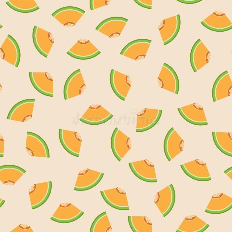 Fond sans couture de modèle de graphique de cantaloup illustration de vecteur