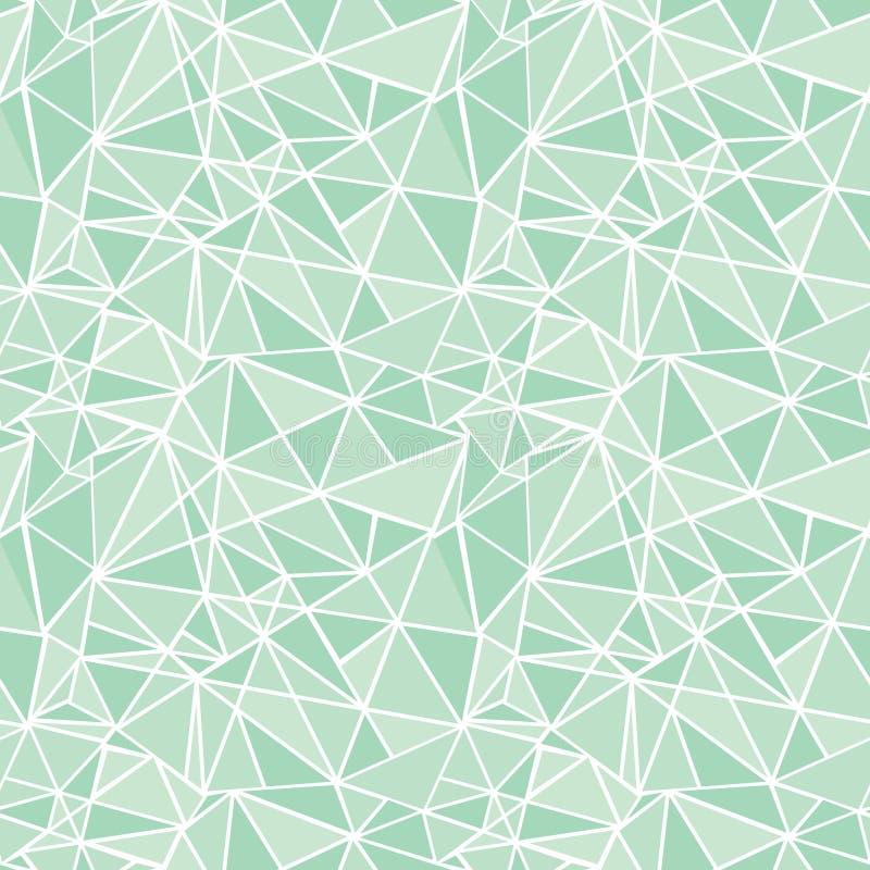 Fond sans couture de modèle de mosaïque de vecteur de répétition géométrique verte en bon état de triangles Peut être employé pou illustration stock
