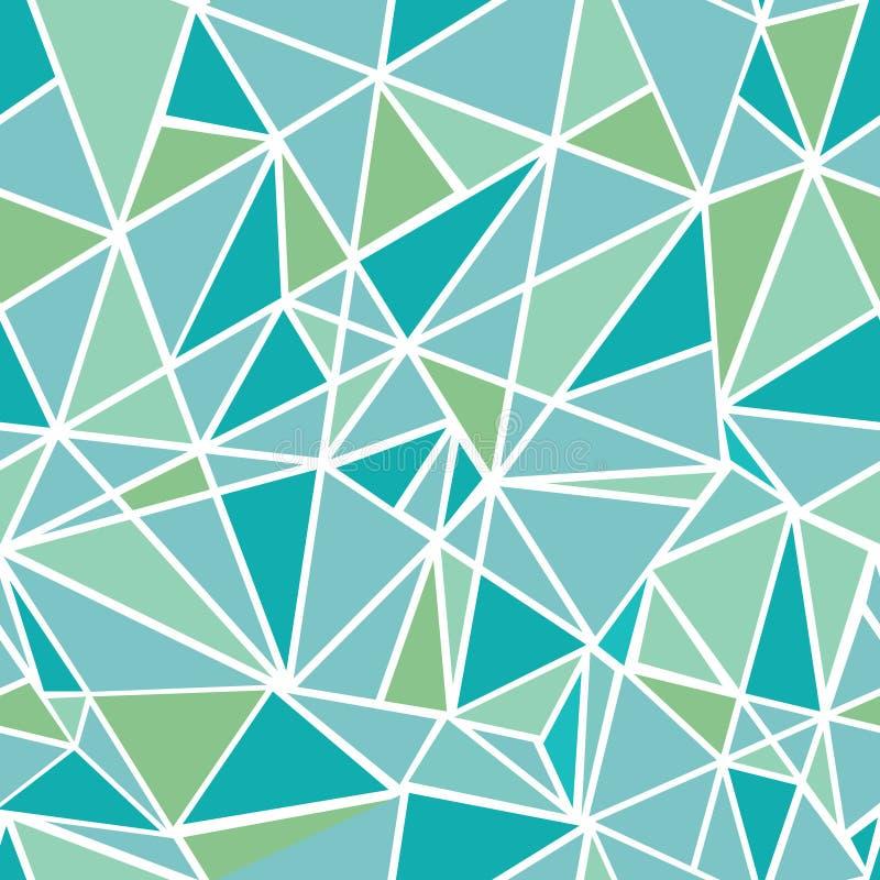 Fond sans couture de modèle de mosaïque de vert bleu de vecteur de répétition géométrique de triangles Peut être employé pour le  illustration de vecteur
