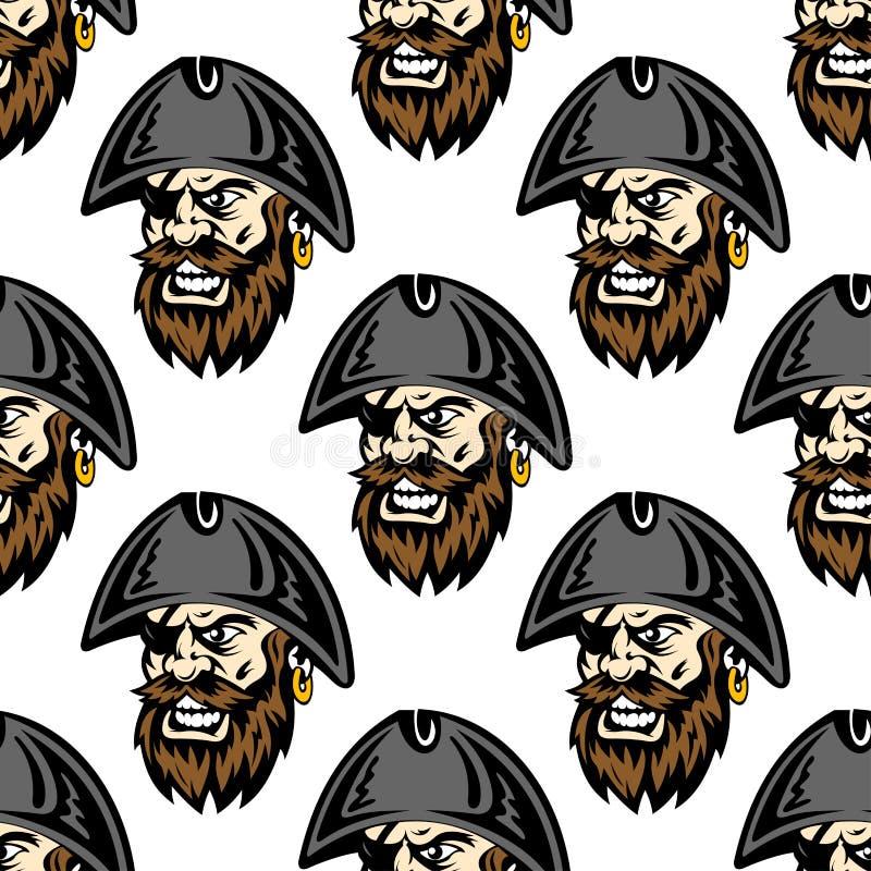 Fond sans couture de modèle de pirate de bande dessinée illustration stock