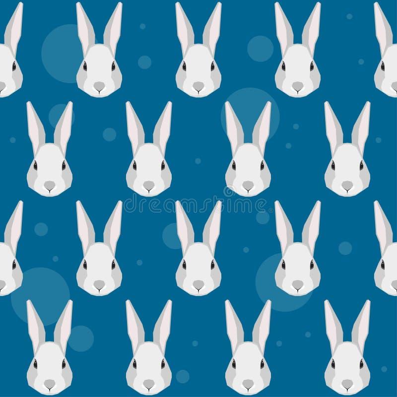 Fond sans couture de modèle de portrait de lapin de bande dessinée illustration libre de droits
