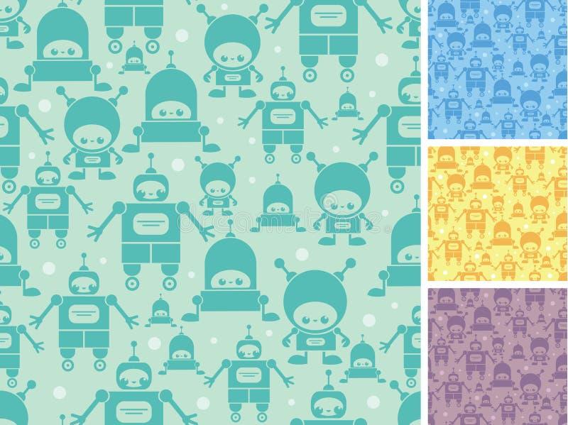 Fond sans couture de modèle de robots mignons de bande dessinée illustration stock