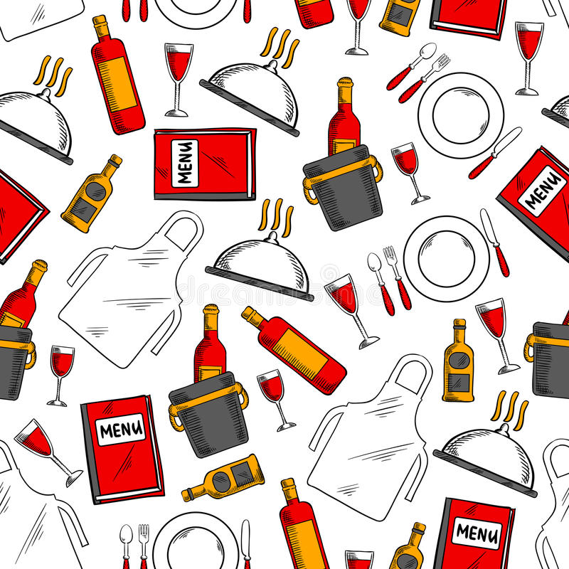 Fond sans couture de modèle de service de restaurant illustration de vecteur
