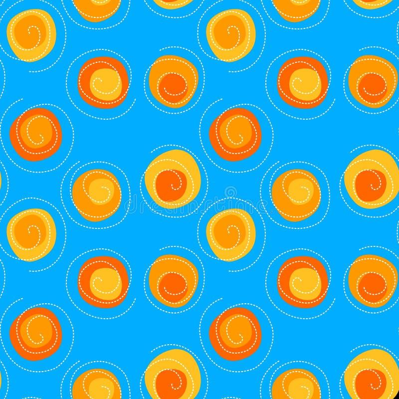 Fond sans couture de modèle de spirales et de soleils illustration stock