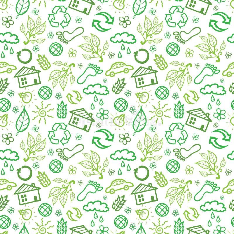 Fond sans couture de modèle de symboles d'écologie illustration de vecteur