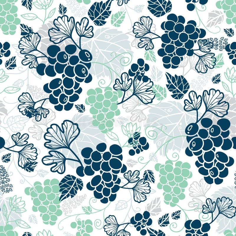 Fond sans couture de modèle de vignes de fruit de répétition verte bleue et en bon état de vecteur Peut être employé pour la pape illustration stock