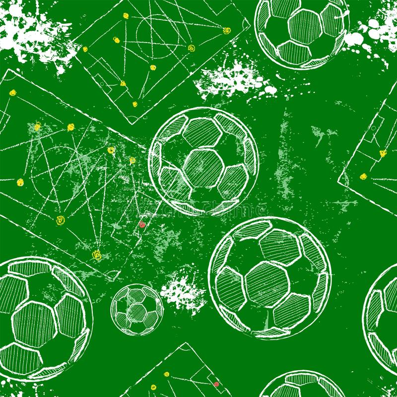 Fond sans couture de modèle du football ou du football, la tactique diagramme, ballons de football, vecteur illustration de vecteur