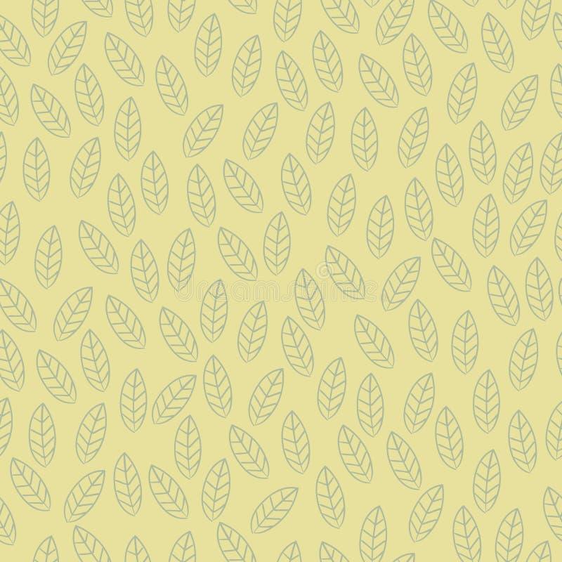 Fond sans couture de modèle de feuille de vecteur Feuilles décoratives tirées par la main Illustration sans couture de vecteur de illustration stock