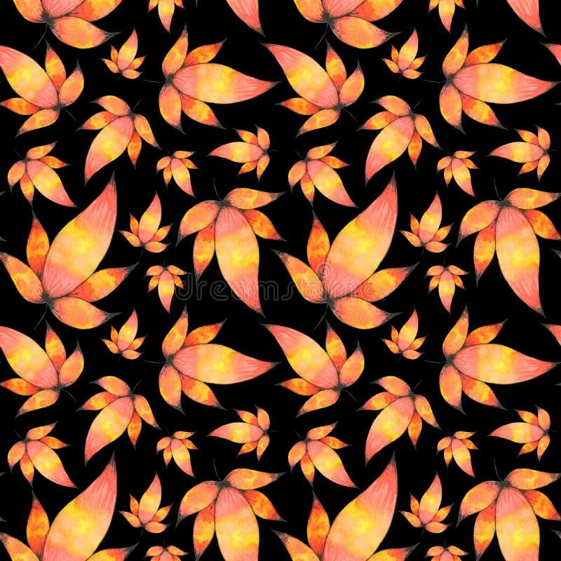 Fond sans couture de modèle de feuilles tirées par la main d'aquarelle illustration stock