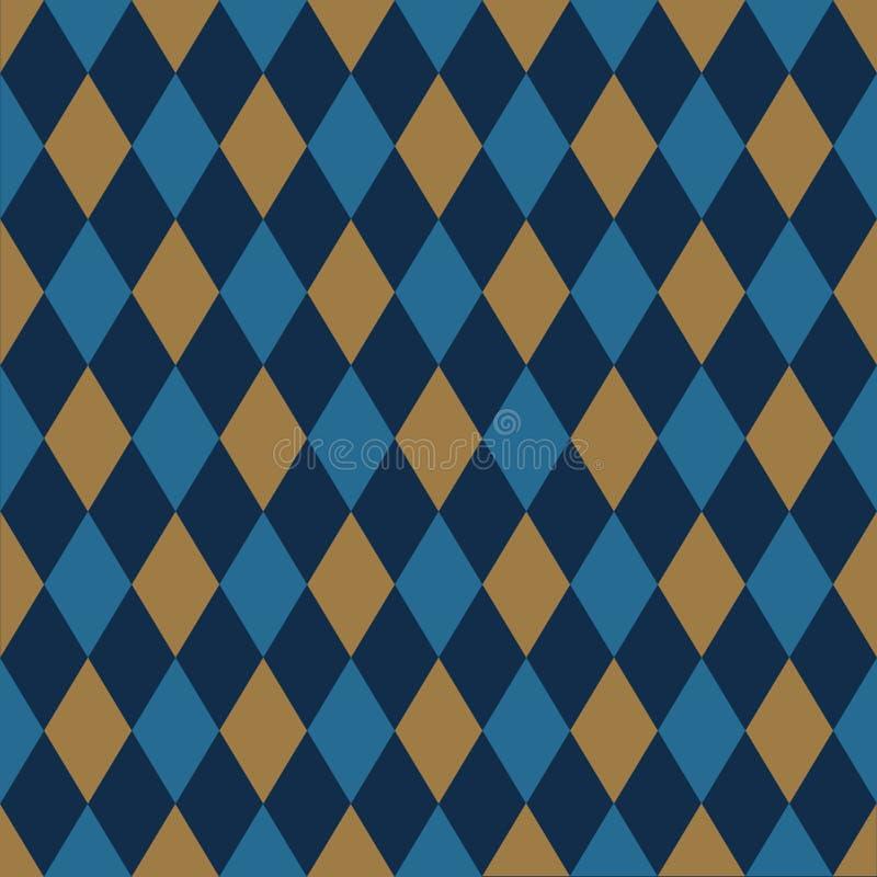 Fond sans couture de modèle de harlequin dans l'or et le bleu illustration libre de droits