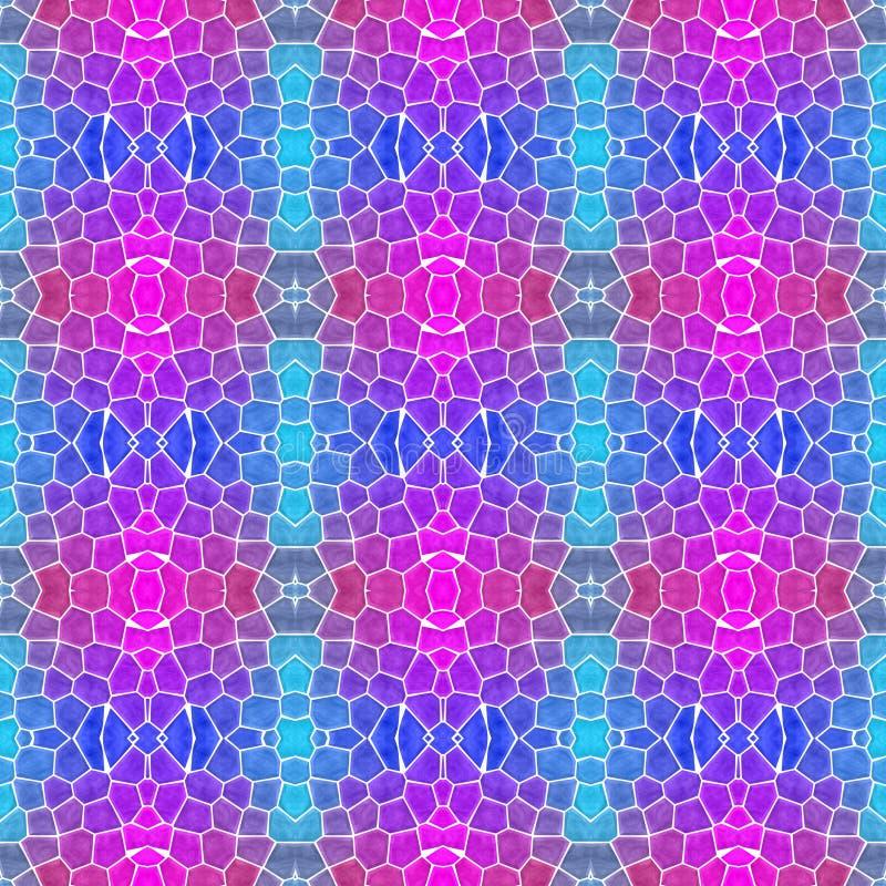 Fond sans couture de modèle de kaléidoscope de mosaïque - magenta cyan bleu au néon de roses indien coloré avec le coulis blanc illustration stock