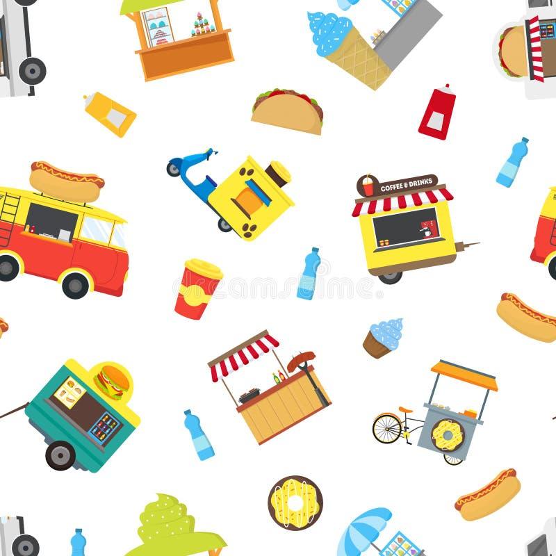 Fond sans couture de modèle de kiosque de stalle de camion de nourriture de rue de bande dessinée Vecteur illustration de vecteur