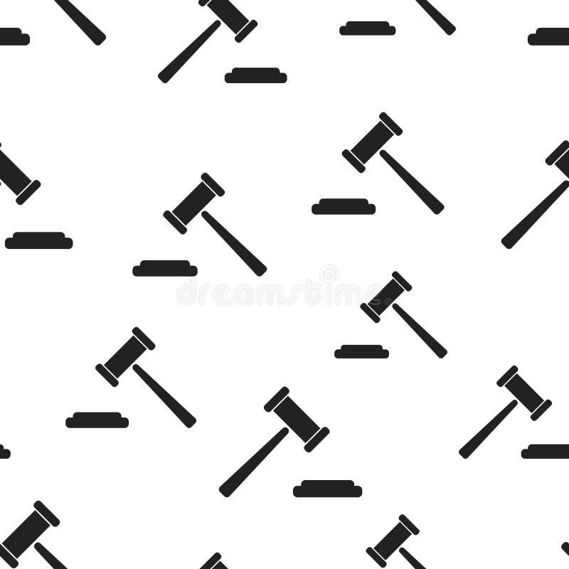 Fond sans couture de modèle de marteau de vente aux enchères Vecteur plat d'affaires illustration stock